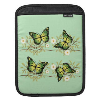 Four green butterflies iPad sleeve