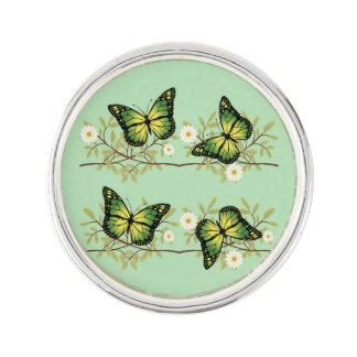 Four green butterflies lapel pin