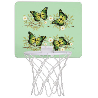 Four green butterflies mini basketball hoop