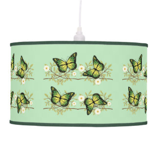 Four green butterflies pendant lamp