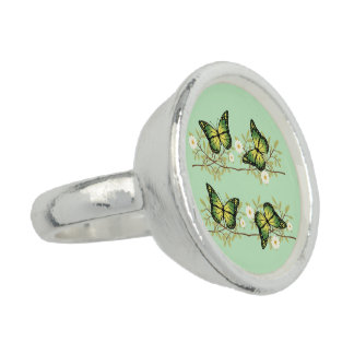 Four green butterflies photo rings