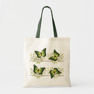 Four green butterflies tote bag