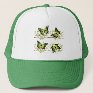 Four green butterflies trucker hat