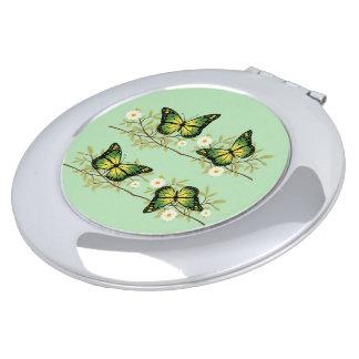 Four green butterflies vanity mirrors
