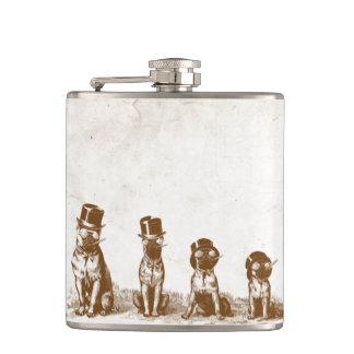 Four Grumpy Hipster Bull Dogs Vintage Sepia Art Hip Flask