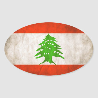 FOUR Grungy Lebanon Flag Oval Sticker