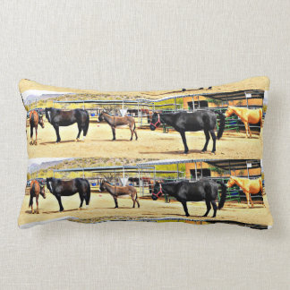Four Horses and A Donkey Poly Lumbar Pillow