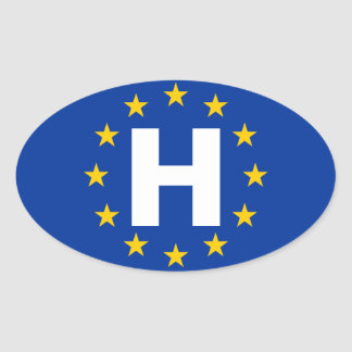 "FOUR Hungary ""H"" European Union Flag Oval Sticker"