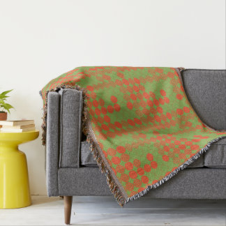 Four In A Row - Dot Design - Orange, Green Throw Blanket