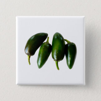 Four Jalapeno Peppers Green Photograph 2 Inch Square Button