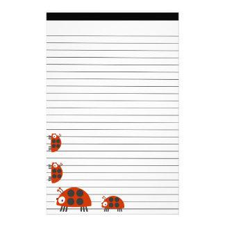 Four Ladybugs Lined Custom Stationery