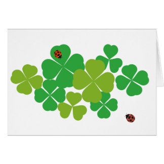 Four Leaf Clover and Ladybug_St. Patrick's Day Greeting Card