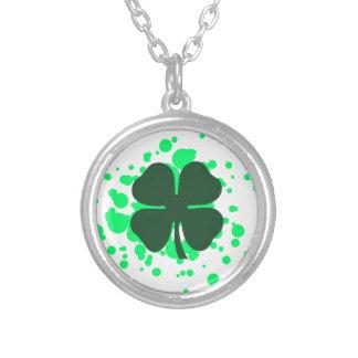 four leaf clover bubbles round pendant necklace