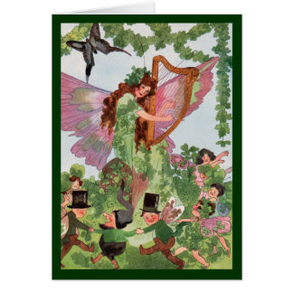 Four Leaf Clover Butterfly Fairy Vintage Card