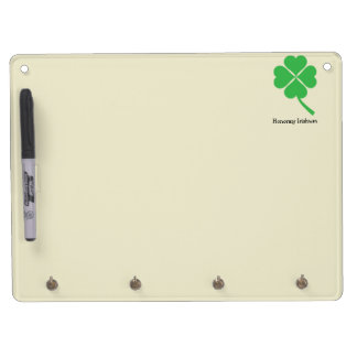 Four-leaf clover dry erase board with keychain holder