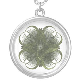 Four Leaf Clover Fractal Art Round Pendant Necklace