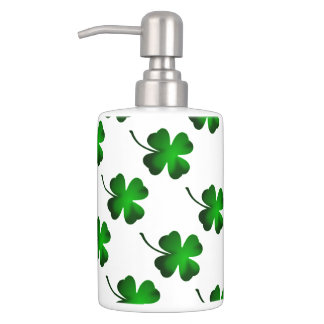 Four Leaf Clover Green Bathroom Accessories Soap Dispenser And Toothbrush Holder