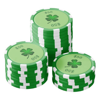 Four Leaf Clover Green Poker Chips Set