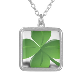 FOUR LEAF CLOVER HAT SILVER PLATED NECKLACE
