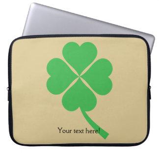 Four-leaf clover laptop sleeves