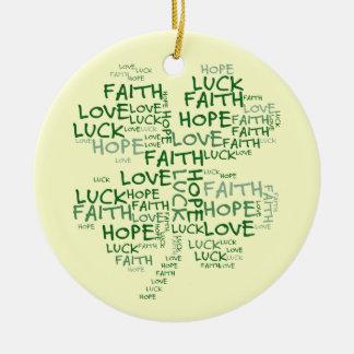 Four Leaf Clover Meaning: Hope, Faith, Love, Luck Ceramic Ornament
