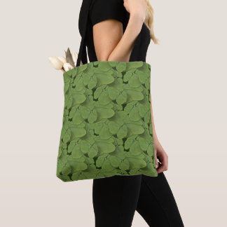 Four leaf clover pattern tote bag .