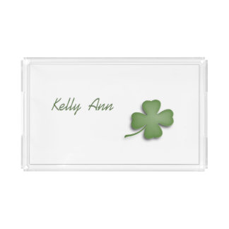 Four Leaf Clover Personalized Vanity Acrylic Tray