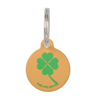 Four-leaf clover pet name tag