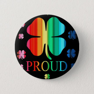 Four leaf clover Rainbow RoyGeeBiv - LGBT 2 Inch Round Button