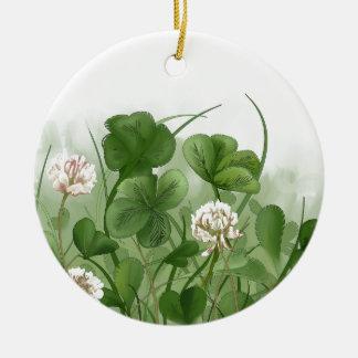 Four Leaf Clover Round Ceramic Ornament