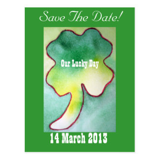 Four Leaf Clover - Save The Date Postcard