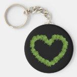 Four Leaf Clover Shamrock Heart Basic Round Button Keychain