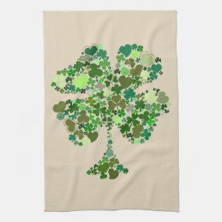 Four Leaf Clover Shamrock Kitchen Towel Irish