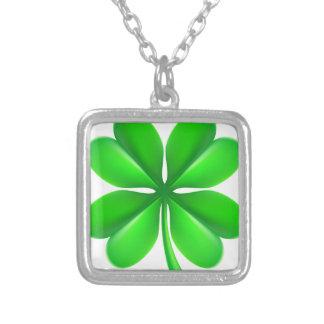 Four Leaf Clover Shamrock Silver Plated Necklace
