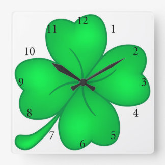 Four-leaf clover sheet square wall clock