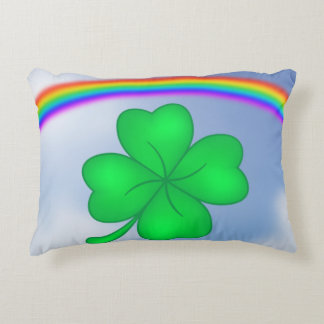 Four-leaf clover sheet with rainbow accent pillow