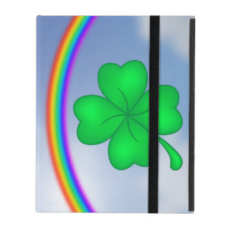 Four-leaf clover sheet with rainbow iPad folio case