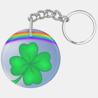 Four-leaf clover sheet with rainbow keychain