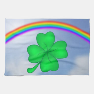 Four-leaf clover sheet with rainbow kitchen towel