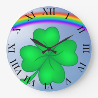 Four-leaf clover sheet with rainbow large clock