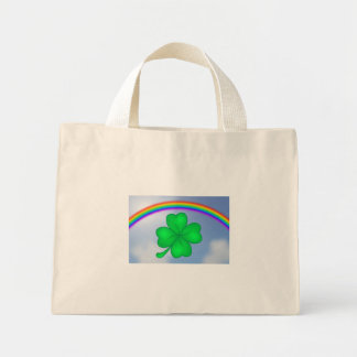 Four-leaf clover sheet with rainbow mini tote bag