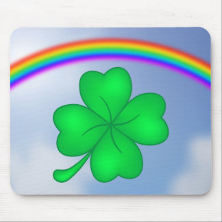 Four-leaf clover sheet with rainbow mouse pad