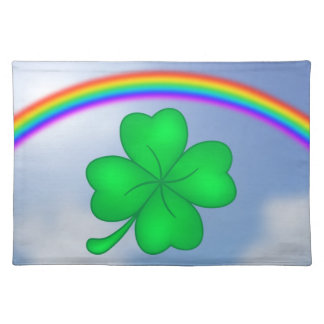 Four-leaf clover sheet with rainbow placemat