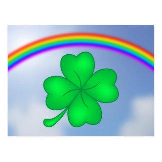 Four-leaf clover sheet with rainbow postcard