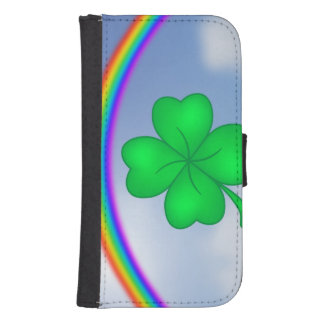 Four-leaf clover sheet with rainbow samsung s4 wallet case
