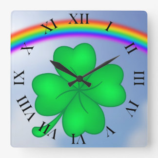 Four-leaf clover sheet with rainbow square wall clock