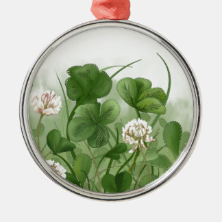 Four Leaf Clover Silver-Colored Round Ornament