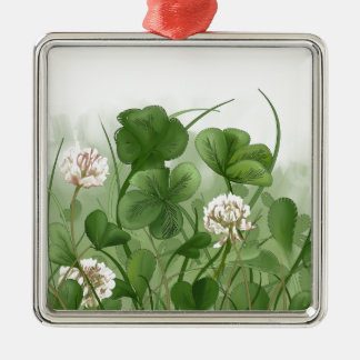 Four Leaf Clover Silver-Colored Square Ornament
