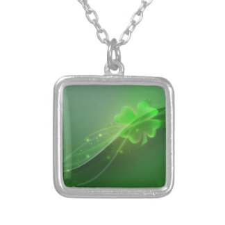 Four Leaf Clover Square Pendant Necklace