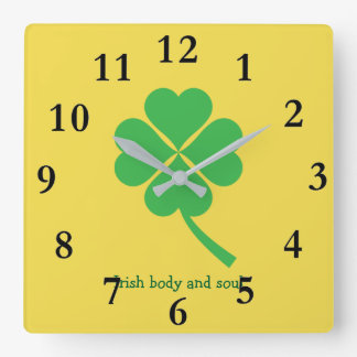 Four-leaf clover square wall clock